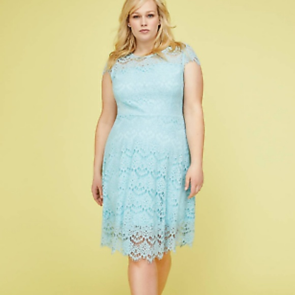 Lane Bryant Dresses | Baby Blue Lace Fit Flare Plus Dress | Poshmark